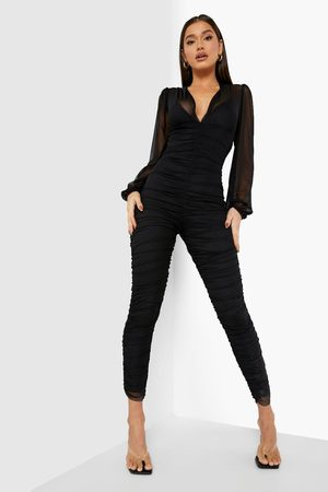 Boohoo Womens Rouched Mesh Balloon Sleeve Jumpsuit - - 4