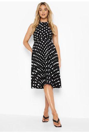 Boohoo Womens Polka Dot Pleated Halterneck Midi Dress - - 4