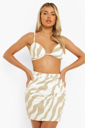 Boohoo Womens Zebra Print Denim Skirt - - 2