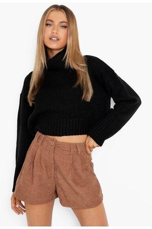 Boohoo Womens Corduroy Pleated Chino Shorts - - 2