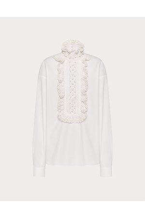 VALENTINO Women Tops - Embroidered Cotton Poplin Top Women Optic 100% Cotton 36