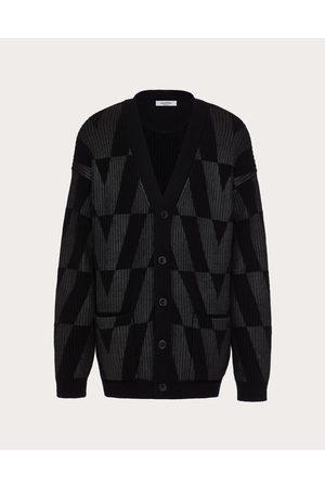 VALENTINO UOMO Men Cardigans - Wool Cardigan With Macro Optical Valentino Print Man / 100% Virgin Wool L