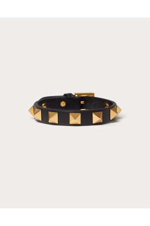 VALENTINO GARAVANI UOMO Men Bracelets - Leather Rockstud Bracelet With Antique Brass-finish Studs Man 100% Pelle Di Vitello - Bos Taurus OneSize