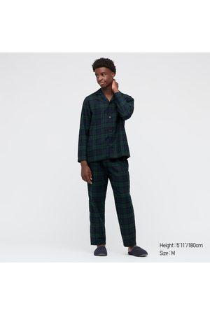 UNIQLO Men's Flannel Long-Sleeve Pajamas, Green, S