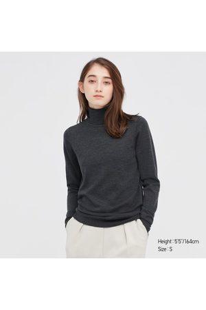 UNIQLO Women's Extra Fine Merino Turtleneck Sweater, Gray, XXS