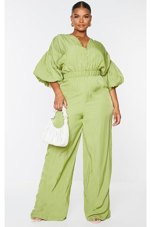 PrettyLittleThing Plus Olive Puffball Sleeve Wide Leg Jumpsuit