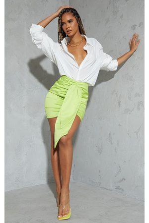 PrettyLittleThing Lime Satin Drape Ruched Mini Skirt
