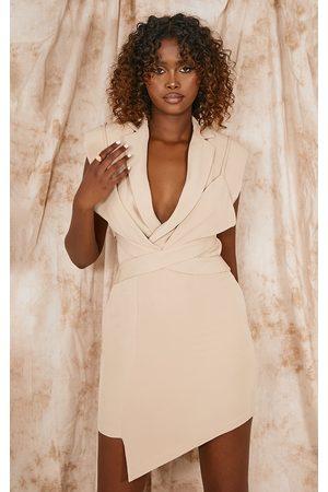PrettyLittleThing Nude Woven Sleeveless Shoulder Pad Bralette Detail Blazer Dress