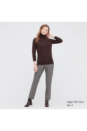UNIQLO Women's Extra Fine Merino Turtleneck Sweater, Brown, XXS