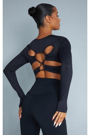 PrettyLittleThing Sculpt Long Sleeve Lace Up Back Sport Top