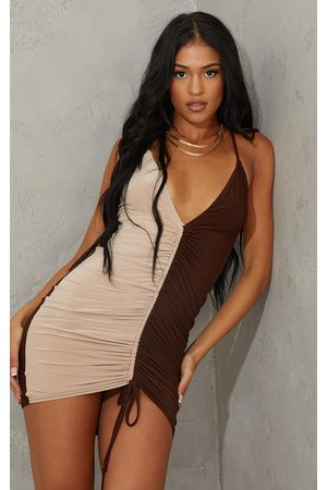 PrettyLittleThing Tall Chocolate Contrast Slinky Ruched Strappy Mini Dress