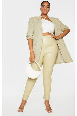 PrettyLittleThing Plus Olive Faux Leather Stretch Leggings