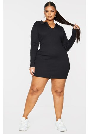 PrettyLittleThing Plus Long Sleeve Ribbed Knitted Bodycon Mini Dress
