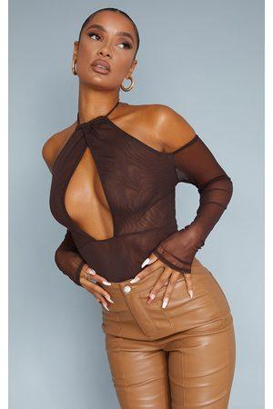 PrettyLittleThing Chocolate Mesh Cut Out Cold Shoulder Halterneck Bodysuit