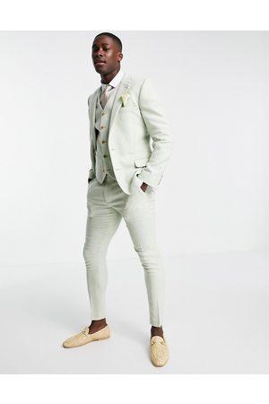 ASOS Wedding super skinny wool mix suit pants in pastel twill