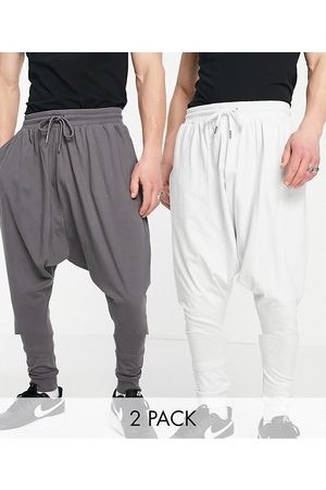 ASOS Lightweight extreme drop crotch sweatpants 2 pack in charcoal/light gray-Multi