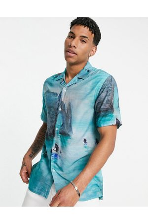 Topman Claude Monet boat print shirt in blue-Multi
