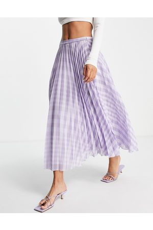 ASOS DESIGN Pleated midi skirt in lilac gingham print