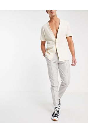 ASOS Smart slim linen sweat-style pants with candy stripe in blue - part of a set-Neutral