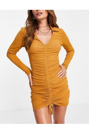 ASOS DESIGN Gathered slinky beach mini dress in rust