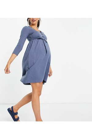 Mama.licious Mamalicious Maternity organic cotton long sleeve t-shirt button front dress with over the bump tie in blue-Blues