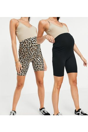 Mama Licious Mamalicious Maternity organic cotton 2-pack shorts in black and leopard print-Multi