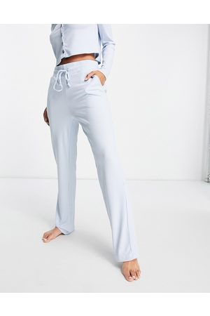 VERO MODA Matching ribbed pajama bottoms in blue-Blues