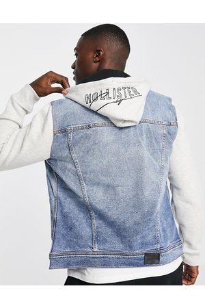 Hollister Sweat sleeve & hood denim jacket in medium wash/ -Grey