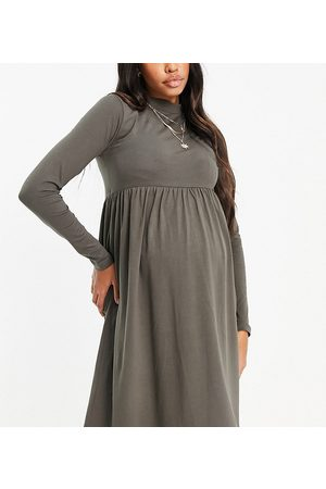 Mama.licious Mamalicious Maternity organic cotton long sleeve dress with funnel neck in