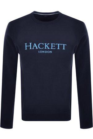 Hackett Men Cardigans - London Logo Knit Jumper Navy