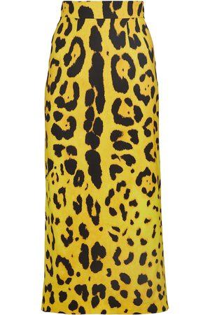 Dolce & Gabbana Leopard-print stretch-silk pencil skirt