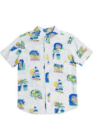 Quiksilver Island Pulse Youth Boys Short Sleeve Shirt - Snow Island Pulse