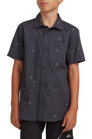 Quiksilver Yacht Rock Boys Short Sleeve Shirt - India Ink Yacht Rock