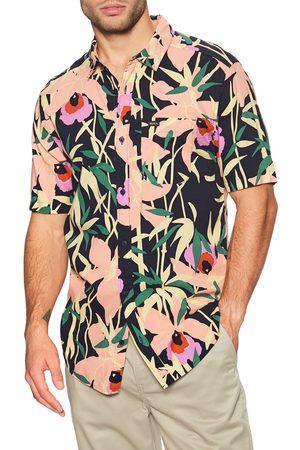 RVCA Bamboo Floral s Short Sleeve Shirt - Navy Marine
