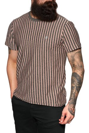 Huf Overdyed Vert Stripe s Short Sleeve T-Shirt - Coral