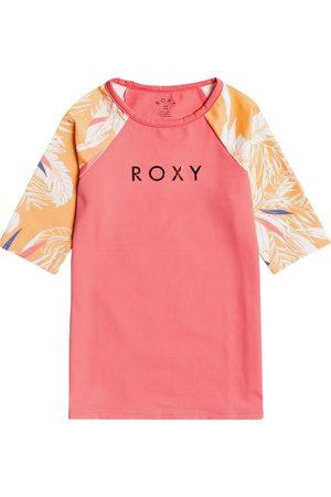 Roxy Printed Lycra Short Sleeve Girls Rash Vest - Salmon Buff Picolo