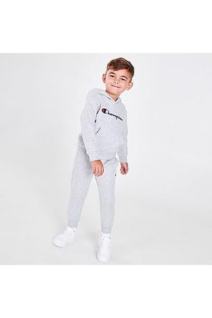 Champion Boys' Infant Classic Script Hoodie and Joggers Set in Grey/ Size 2 Toddler Cotton/Fleece