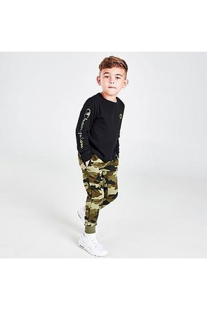 Champion Boys' Infant Camo Fleece Long-Sleeve T-Shirt and Jogger Pants Set in /Olive Size 2 Toddler Cotton/Fleece