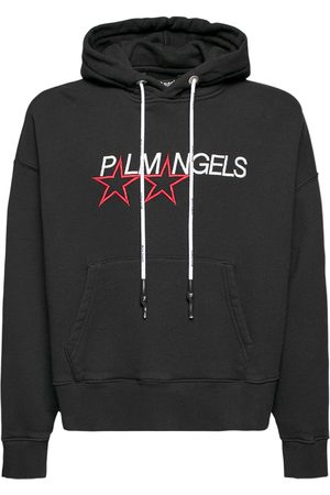 PALM ANGELS Racing Star Print Cotton Jersey Hoodie