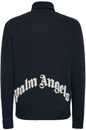 PALM ANGELS Curved Logo Knit Wool Blend Turtleneck