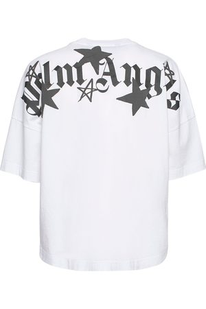 PALM ANGELS Shooting Stars Logo Over Cotton T-shirt