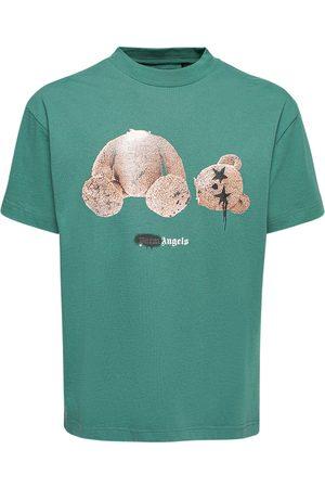 PALM ANGELS Spray Bear Print Cotton Jersey T-shirt