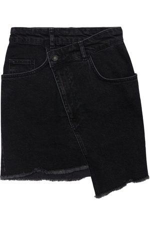LES COYOTES DE PARIS Asymmetric Cotton Denim Skirt