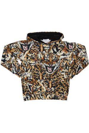 ROBERTO CAVALLI All Over Tiger Print Cotton Sweat Dress