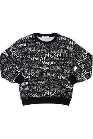 MSGM Girls Sweatshirts - All Over Logo Print Cotton Sweatshirt
