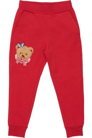 MONNALISA Bear Patch Cotton Sweatpants