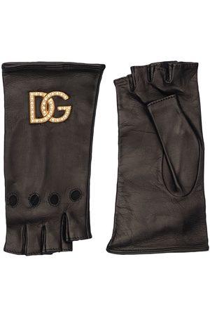 DOLCE & GABBANA Dg Leather Fingerless Gloves