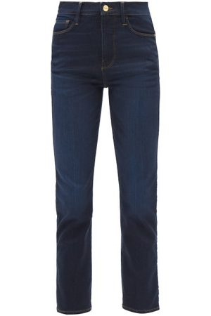 Frame Women High Waisted - Le Sylvie High-rise Straight-leg Jeans - Womens - Dark Denim