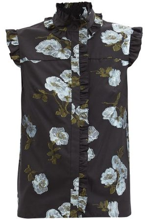 Erdem Cyrus High-neck Floral-embroidered Top - Womens
