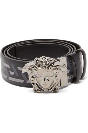 Versace Medusa-buckle Logo-print Leather Belt - Mens - Grey